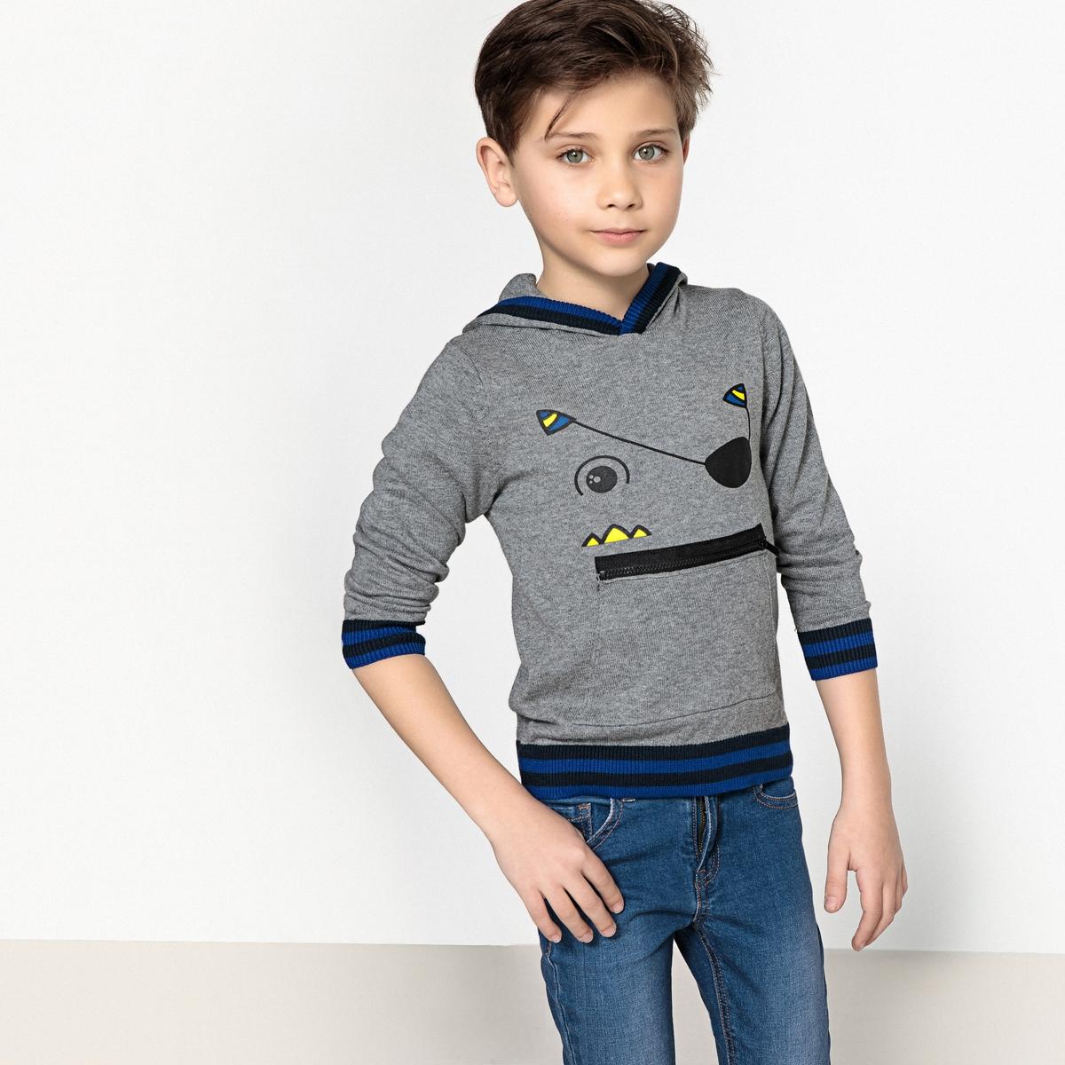 Пуловер с капюшоном, 3-12 лет