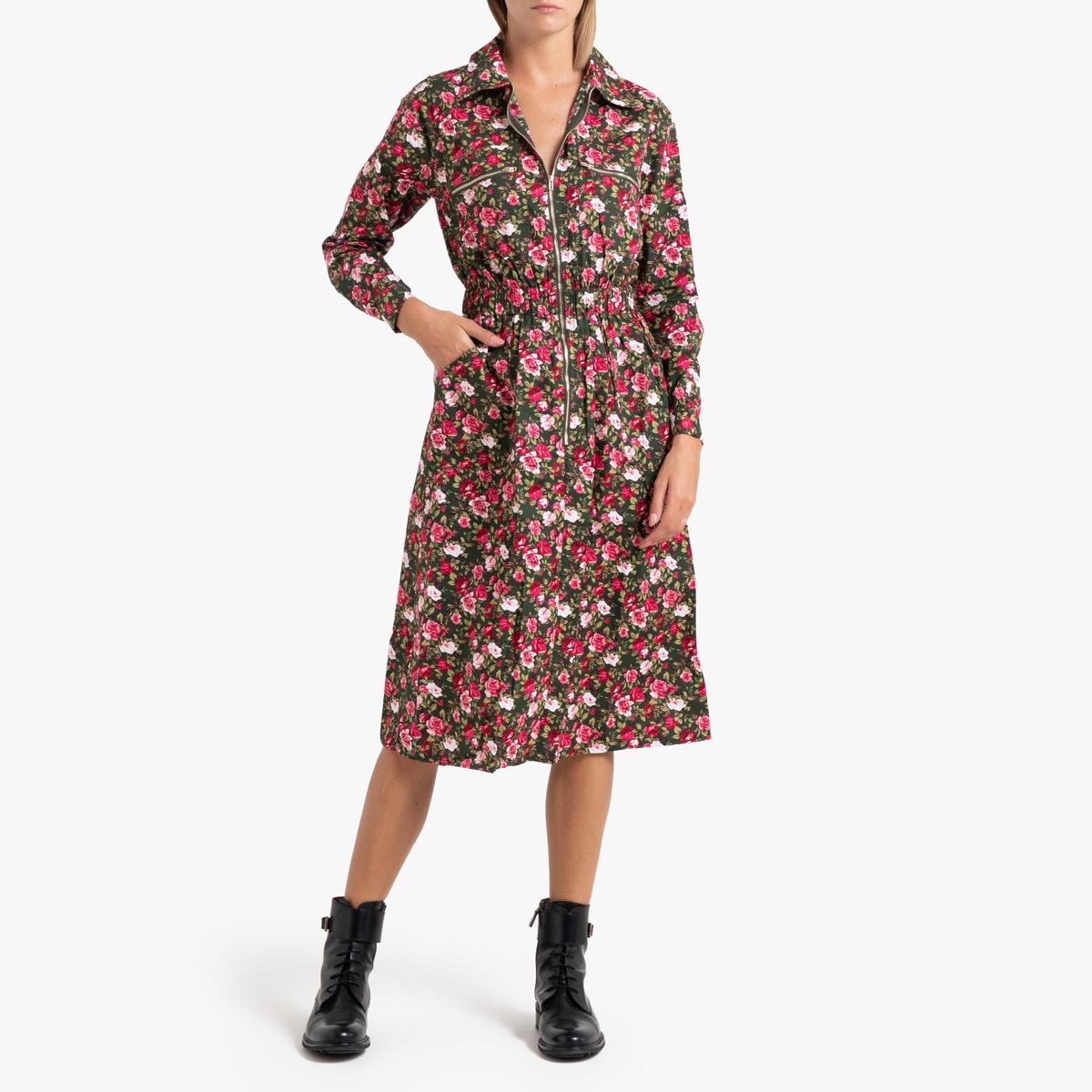 цена Платье La Redoute С цветочным принтом на молнии ABELINA L разноцветный онлайн в 2017 году