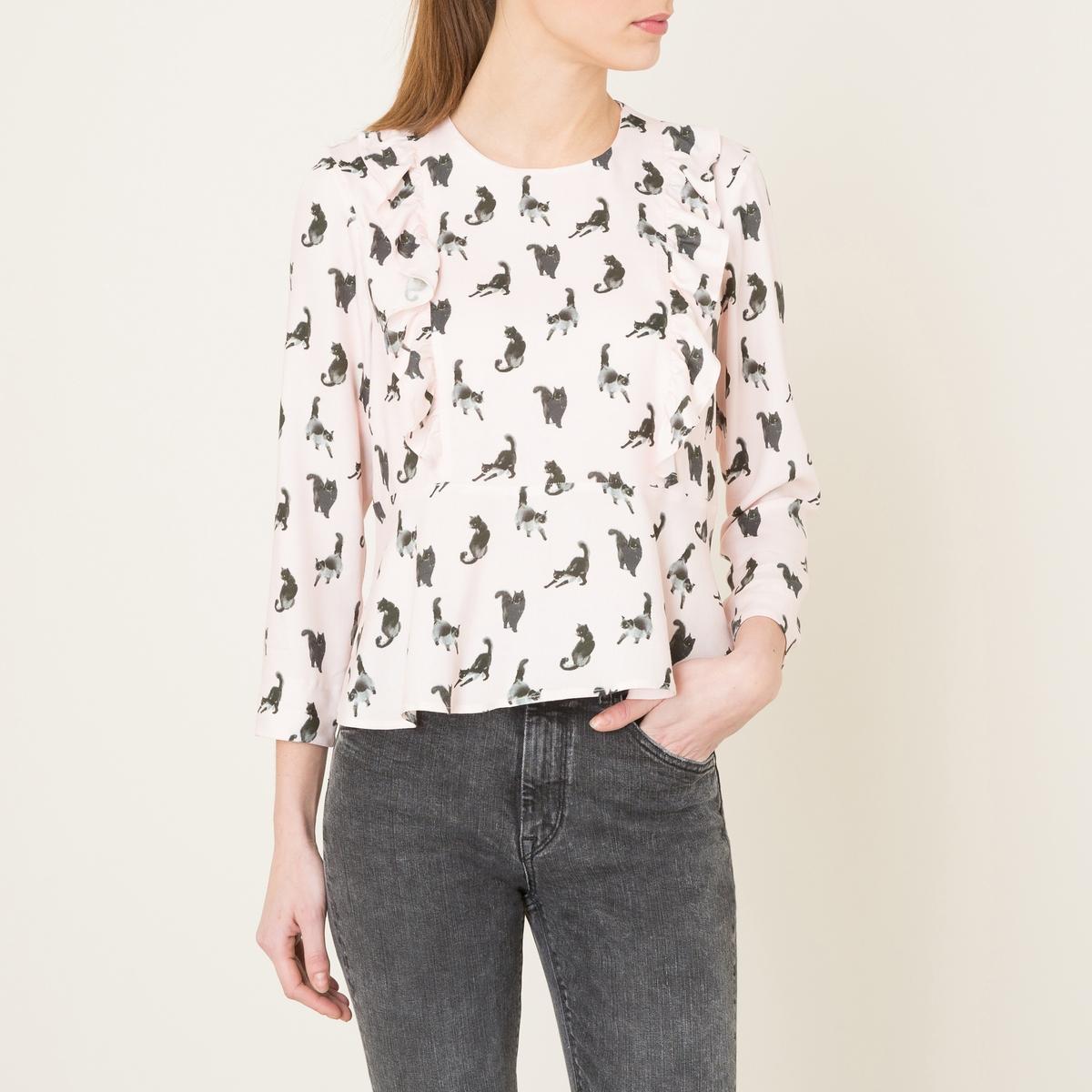 Блузка с рисунком « кошки » DEVONСостав и описание   Материал : 100% вискоза   Марка : PAUL AND JOE SISTER<br><br>Цвет: розовый