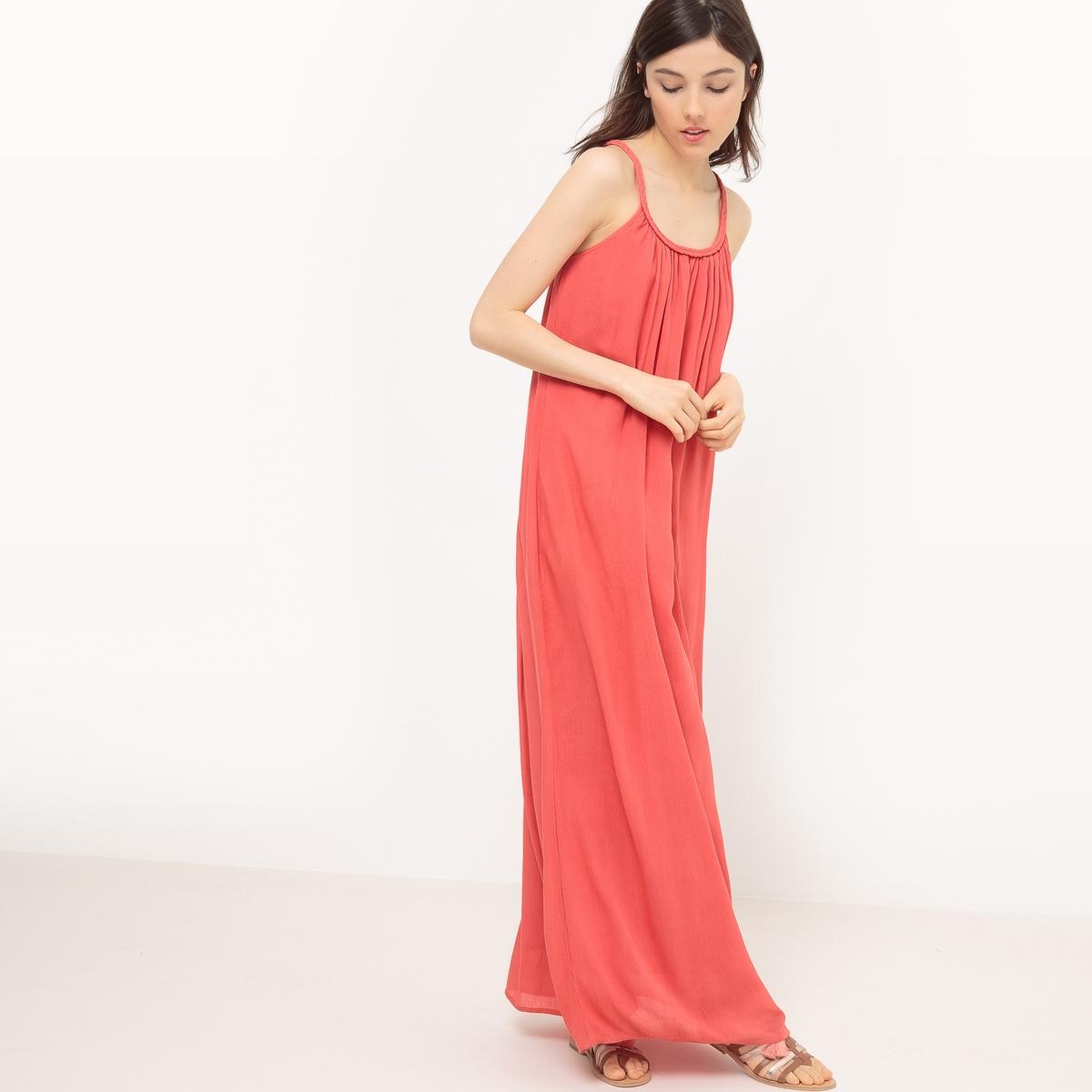 Платье длинное с тонкими бретелямиМатериал : 100% вискозаПодкладка : 100% хлопок       Уход :Машинная стирка при 30 °CСтирать с вещами схожих цветовГладить при низкой температуре<br><br>Цвет: оранжевый,слоновая кость