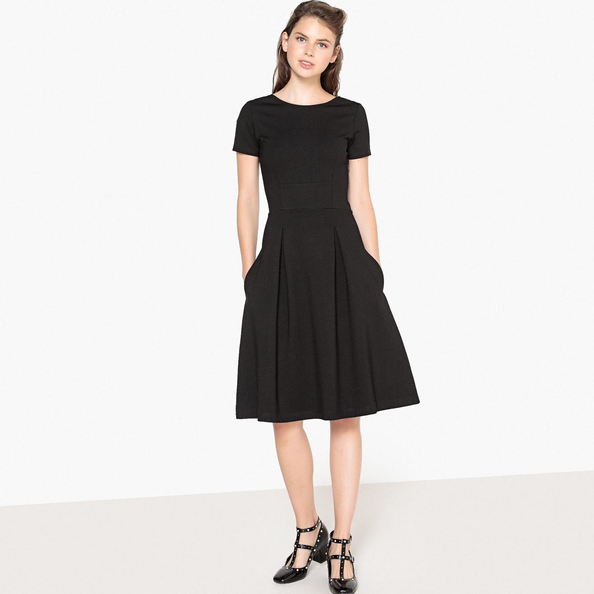 Платье-миди расклешенное с короткими рукавами