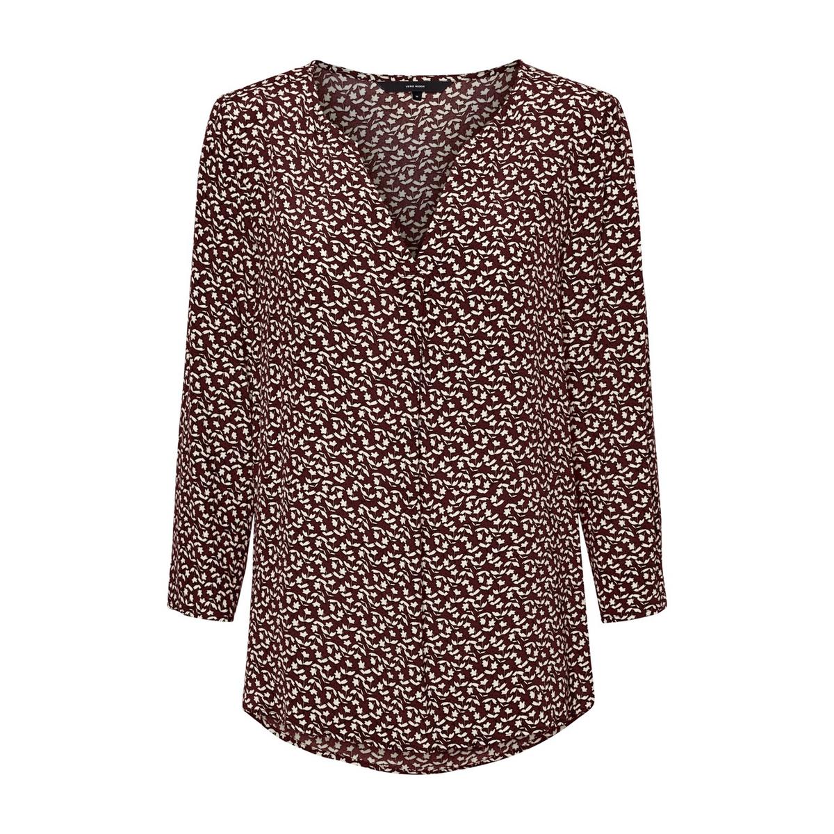 цена Блузка La Redoute С цветочным рисунком V-образным вырезом и рукавами L каштановый онлайн в 2017 году
