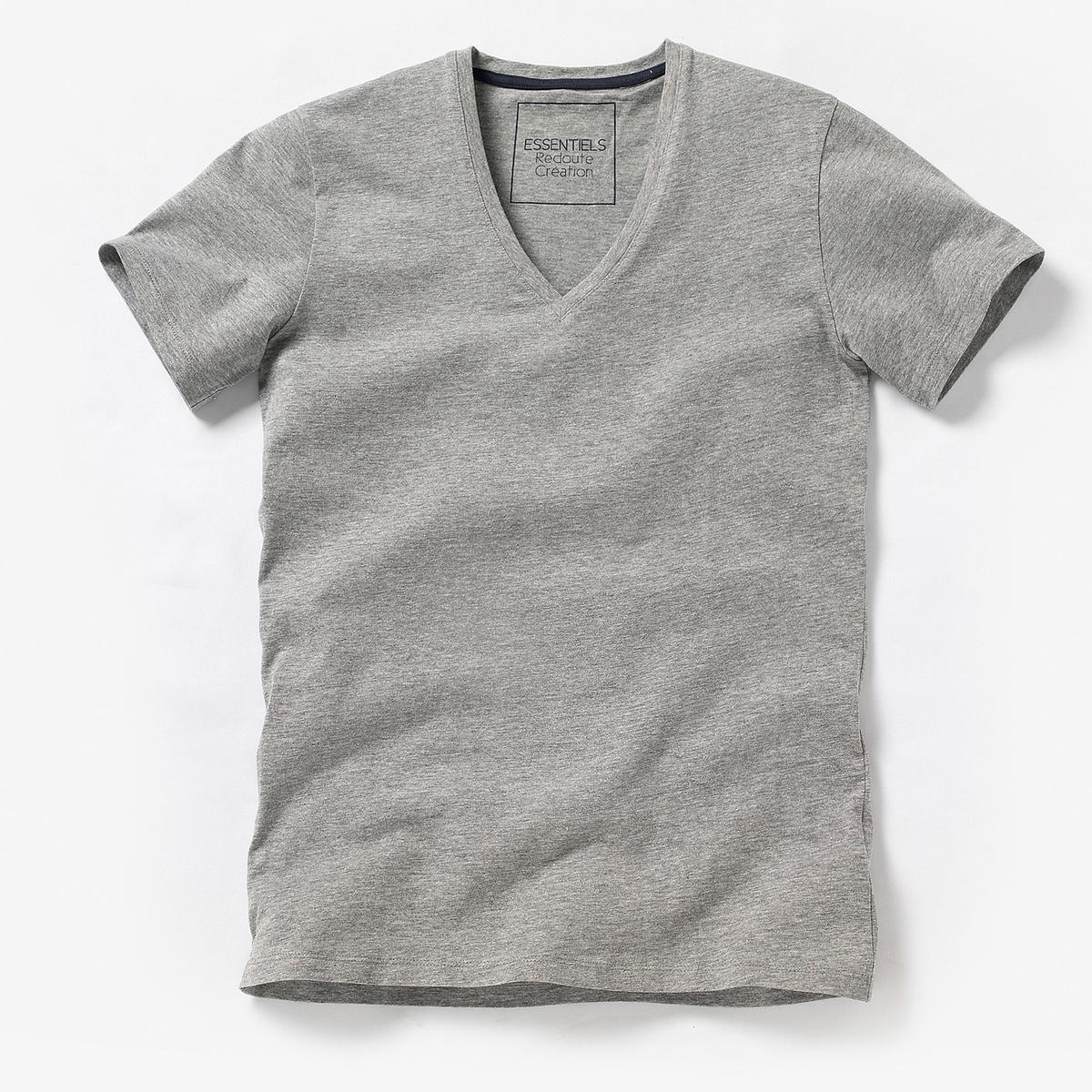 Футболка однотонная с глубоким V-образным вырезом и короткими рукавамиС глубоким V-образным вырезом и короткими рукавами. Джерси, 100% хлопка (серый меланж: 85% хлопка, 15% вискозы). Длина 72 см.<br><br>Цвет: белый,серый меланж,темно-синий,черный,ярко-синий<br>Размер: S.XS.M.XL.XS.M.L.XL.XXL.XS.M.L.XL.XXL.M.L.XL.XXL.4XL.3XL.S.XL.3XL