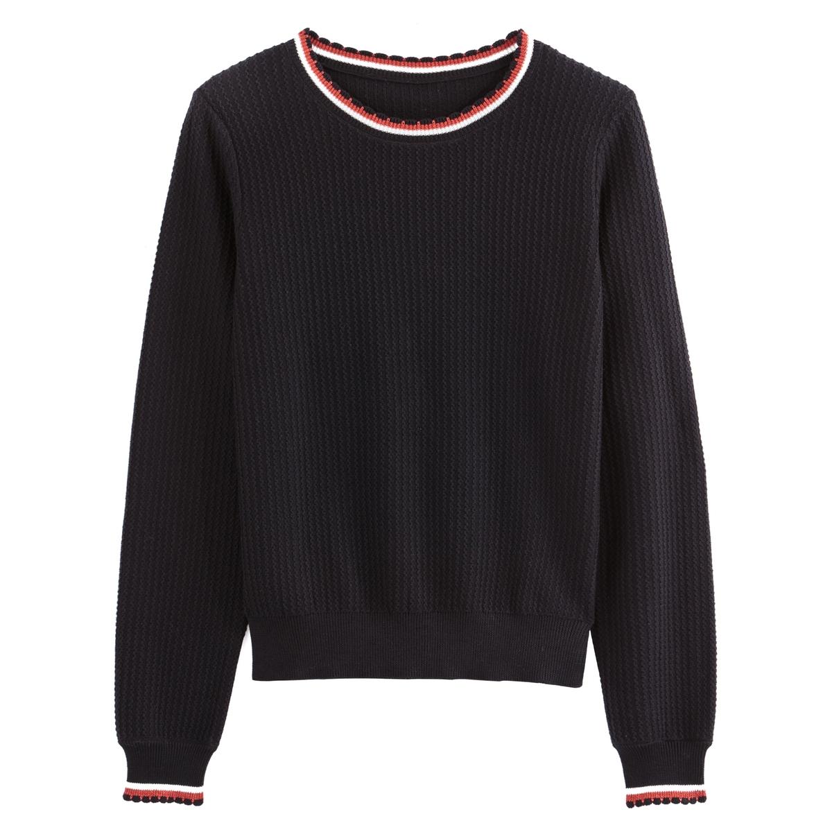 Jersey con cuello redondo de punto fino con detalles deportivos