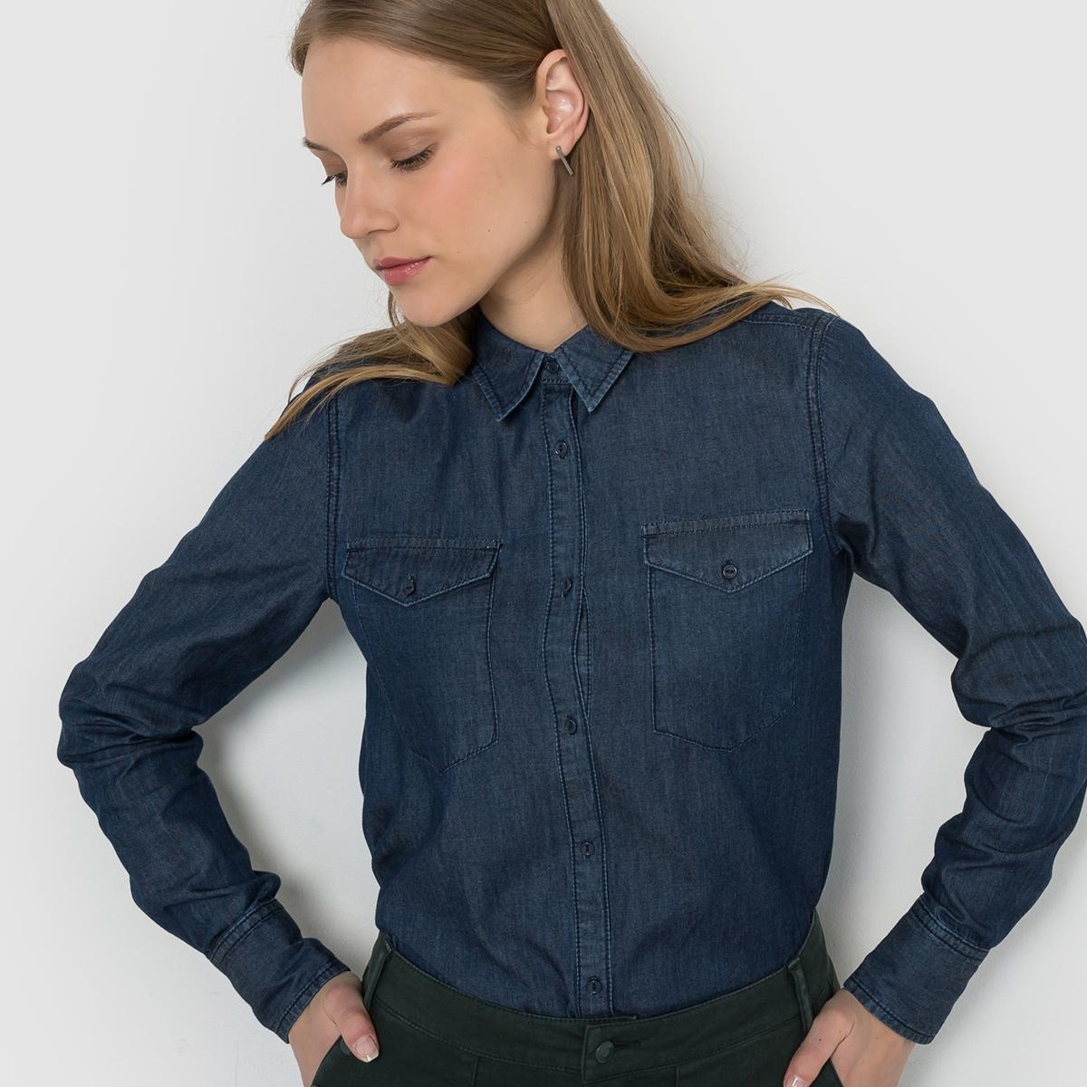 Рубашка из лёгкого денима с длинными рукавамиУходМашинная стирка при 30 °C с вещами схожих цветов<br><br>Цвет: темно-синий<br>Размер: 38 (FR) - 44 (RUS)