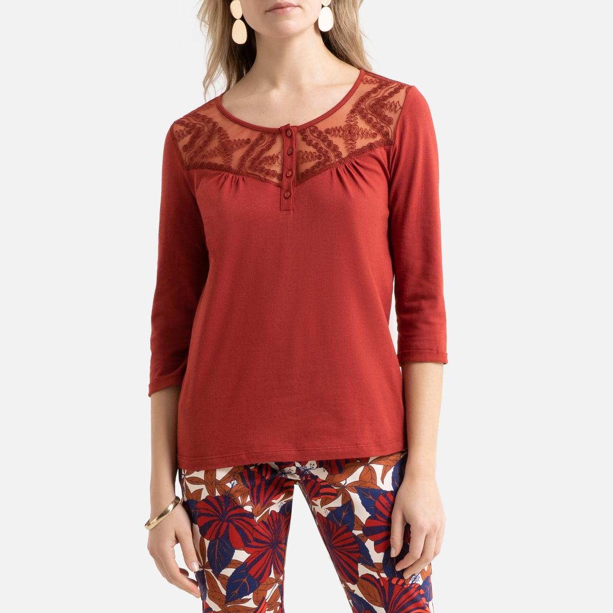 T-shirt de gola redonda, detalhes em renda