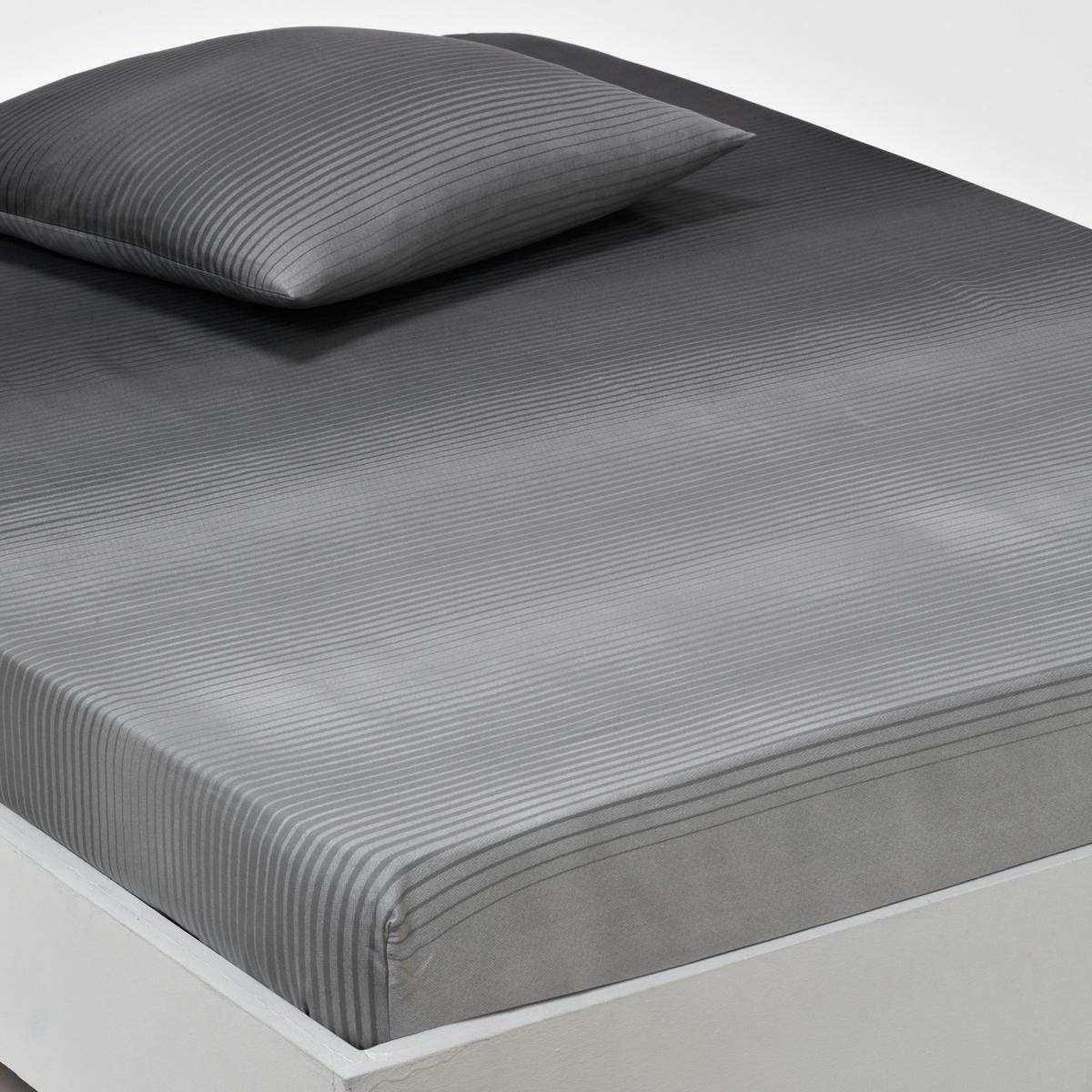 Простыня натяжная из хлопкового атласа, RayadosОписание натяжной простыни для раздельных матрасов  :Рисунок с переходом от серого к черному на эластичном и мягком хлопковом атласе - Атлас 100% хлопка (80 нитей/см2) . - 100% хлопок  чем больше количество нитей/см2, тем выше качество ткани  .- Машинная стирка при 60° .Сертификат Oeko-Tex® дает гарантию того, что товары изготовлены без применения химических средств и не представляют опасности для здоровья человека  .Размер  :90 x 190 см   : 1-сп. 140 x 190 см  : 2-сп. 160 x 200 см  : 2-сп.<br><br>Цвет: серый<br>Размер: 90 x 190  см