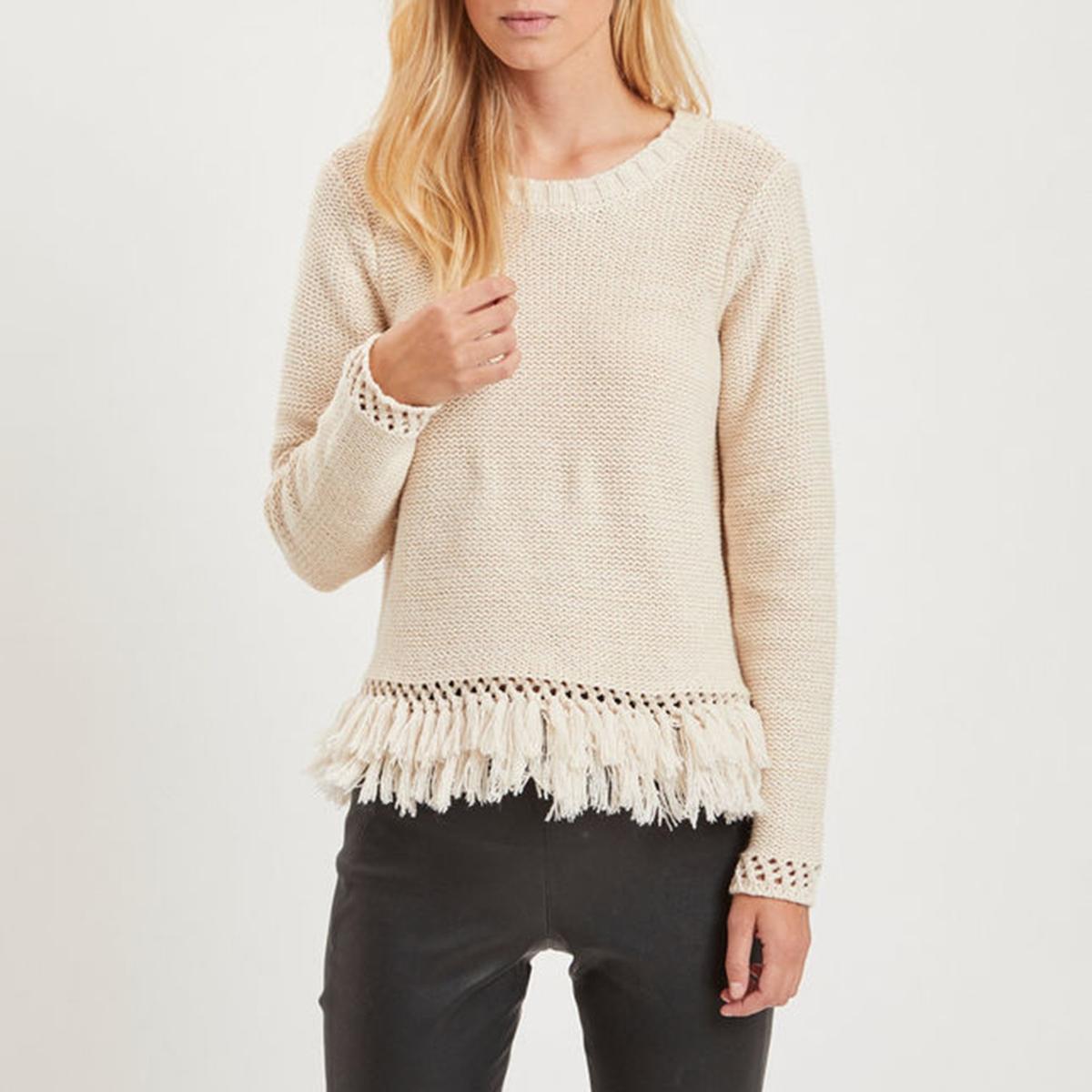 Sweter z okrągłym dekoltem i frędzlami