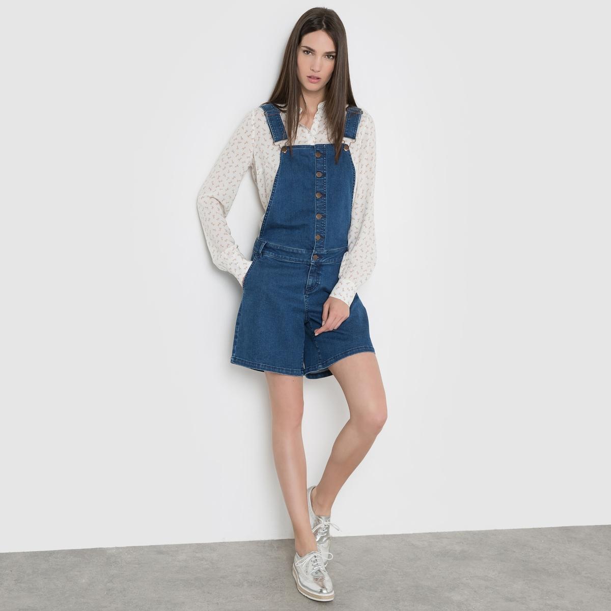 Комбинезон-шорты из джинсовой ткани