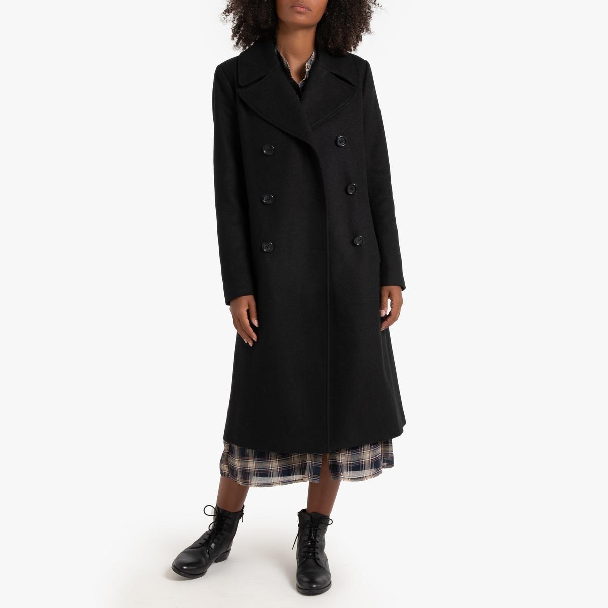 Abrigo largo entallado de paño de lana