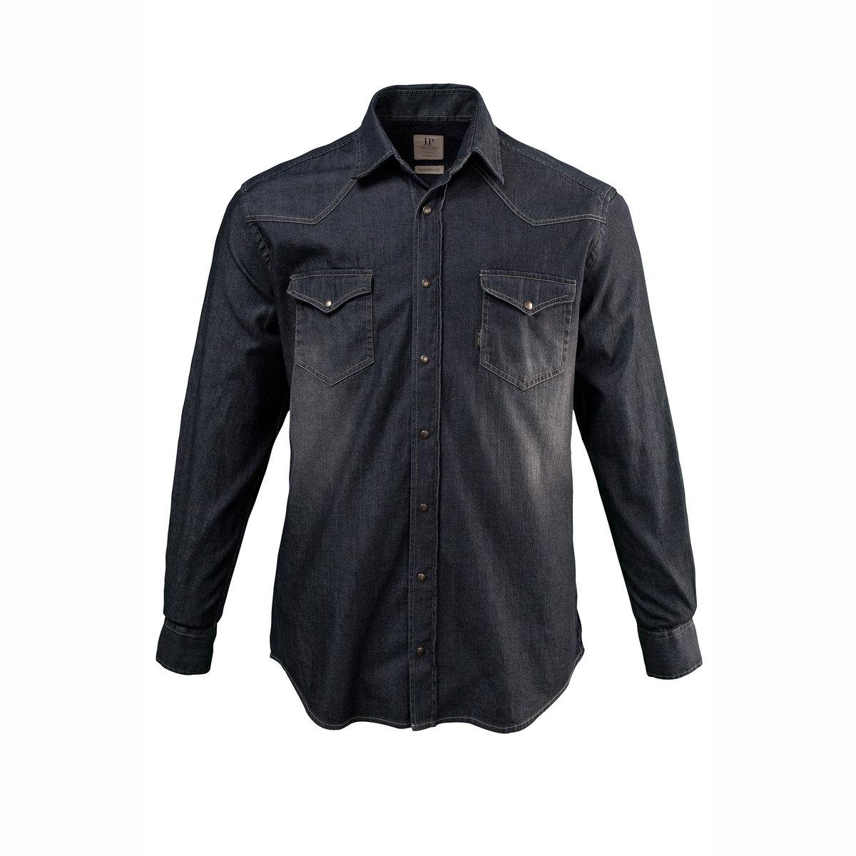 Рубашка из денима, с длинными рукавамиАктуальный соверменный покрой: немного приталенный, позволяет носить рубашку поверх брюк, придавая расслабленный вид. 2 кармана на клапане с кнопкой.<br><br>Цвет: серый<br>Размер: XL