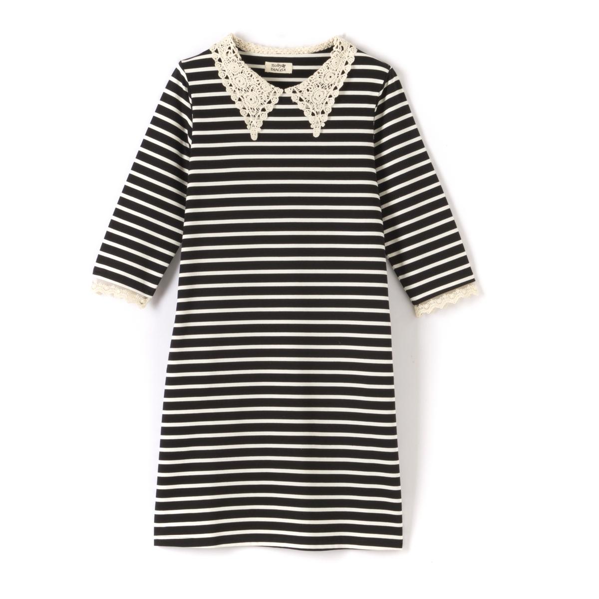 Платье в полоску с рукавами 3/4 и ложным кружевным воротником