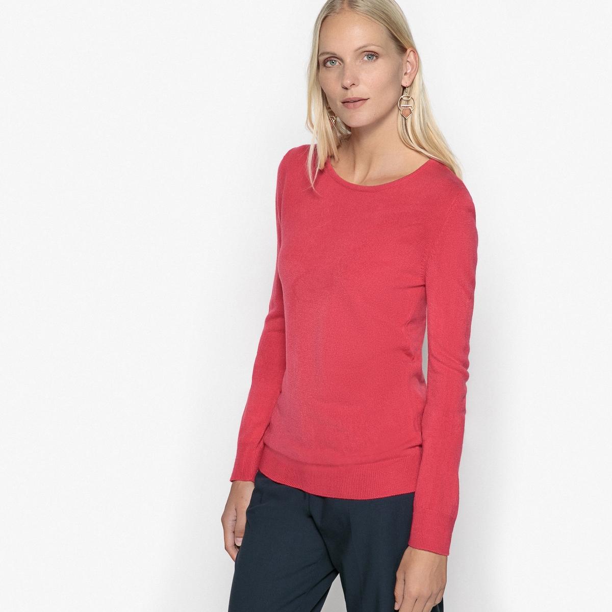 Пуловер с круглым вырезом из мягкого тонкого трикотажа