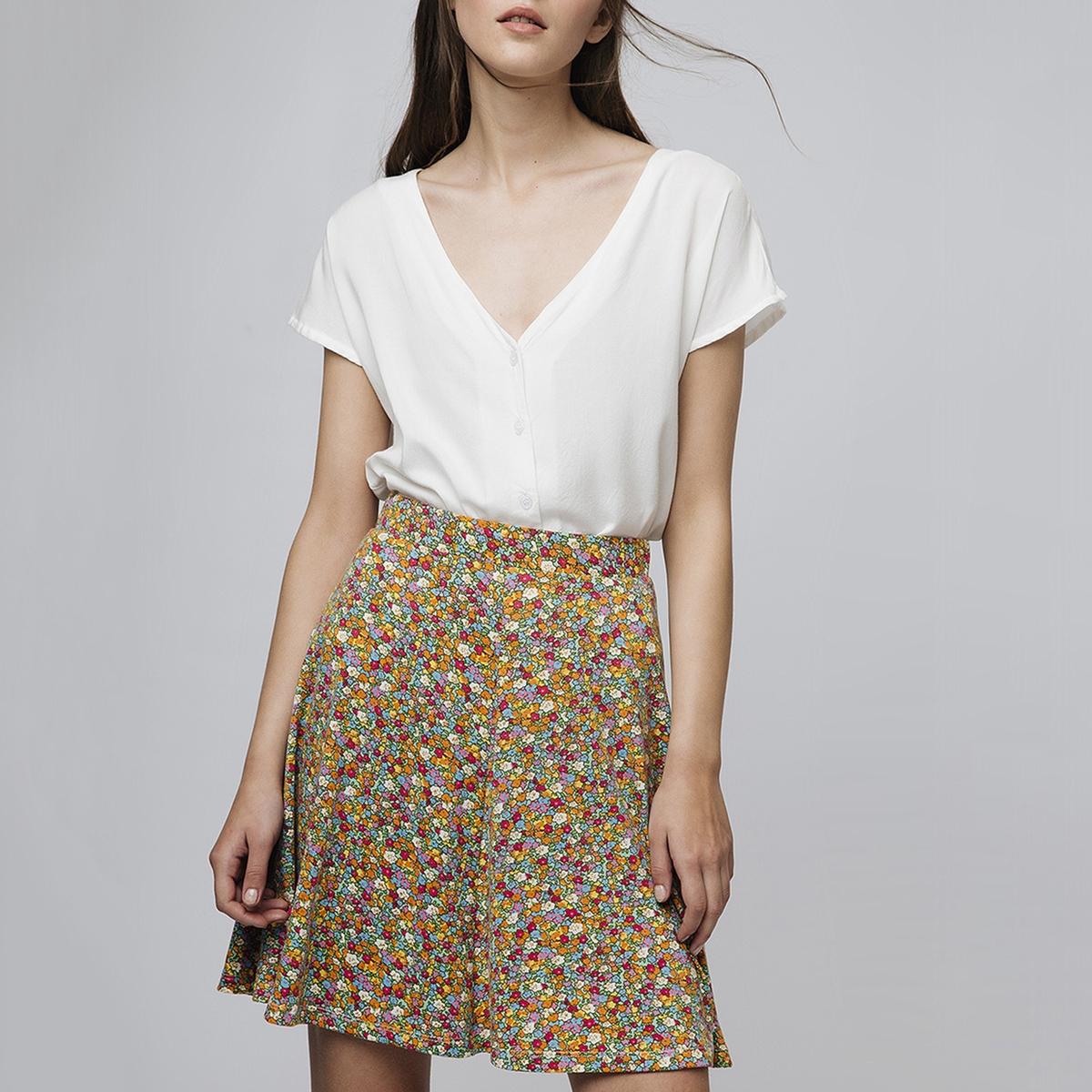 Юбка La Redoute Короткая с цветочным рисунком M желтый юбка la redoute короткая с завышенной талией и цветочным рисунком xs зеленый
