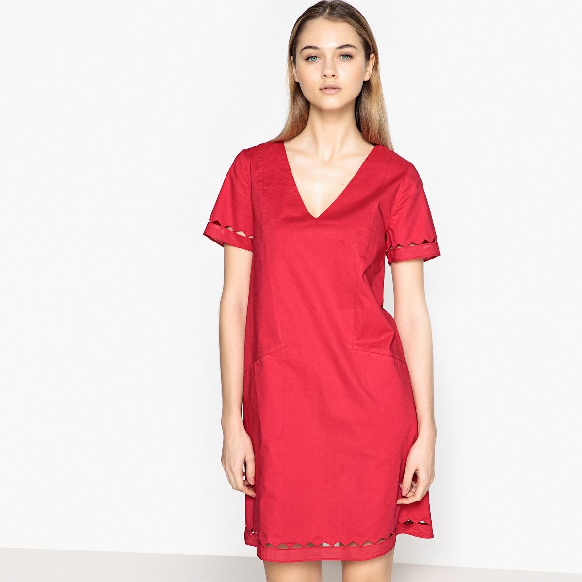 Платье с короткими рукавами RITALICОписание:Детали •  Форма : прямая •  Укороченная модель •  Короткие рукава    •   V-образный вырезСостав и уход •  100% хлопок •  Следуйте советам по уходу, указанным на этикетке<br><br>Цвет: красный малиновый