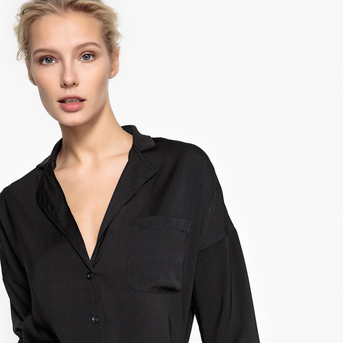 Рубашка струящаяся с костюмным воротником пальто с костюмным воротником