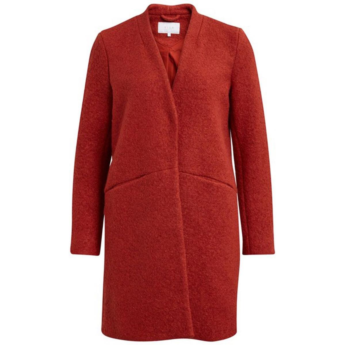 Пальто прямого покроя с V-образным вырезом