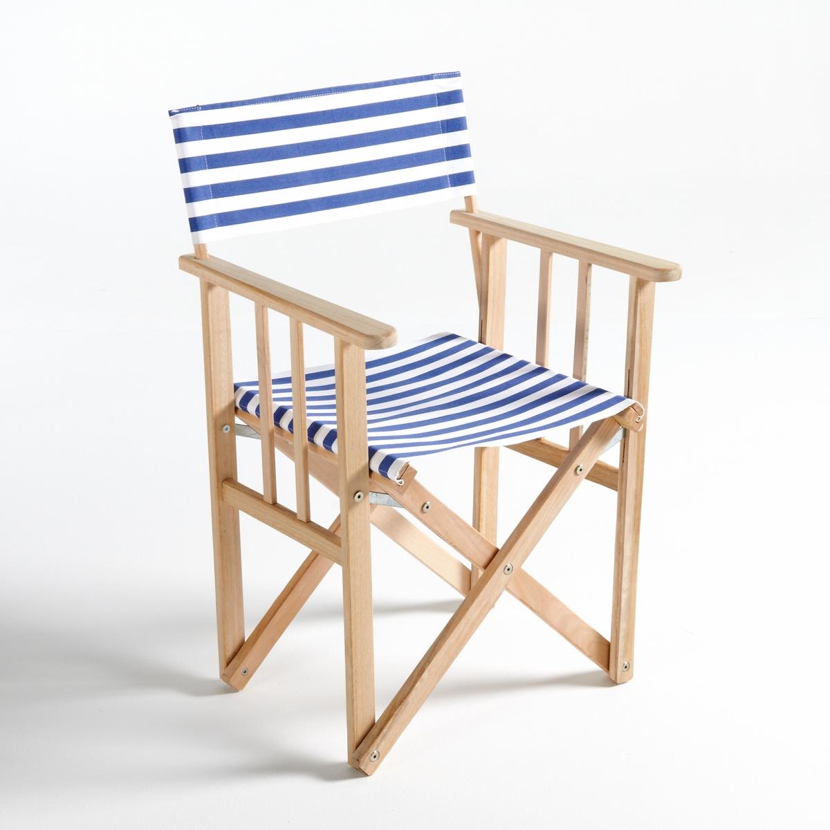 Кресло La Redoute Режиссерское складное в полоску Dovil единый размер синий