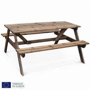 Table de pique nique Padano 150cm rectangulaire avec bancs, salon de jardin en bois autoclave fabriqué en Europe ALICE S GARDEN