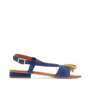 Sandales plates, cuir, pied large 38-45 CASTALUNA
