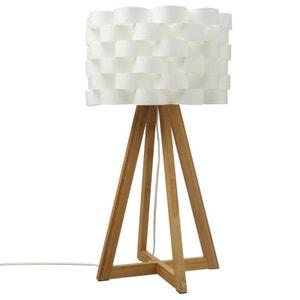 Lampe pied croisé bambou abat-jour fleur H55cm PIER IMPORT