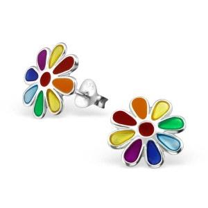 Boucles d'oreilles Enfant Fleur Marguerite Pâquerette Multicolore Arc en Ciel Argent 925 SO CHIC BIJOUX