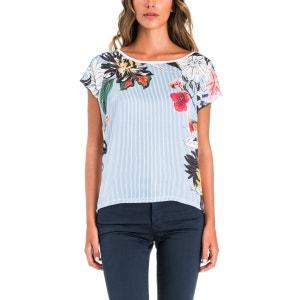 T-shirt imprimé à rayures aver fleurs SALSA