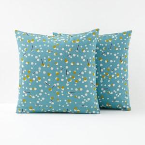 Funda de almohada azul celedón con estampado de lunares Qanik La Redoute Interieurs