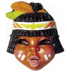 Masque Petit indien : Indien plumes marron/verte CESAR