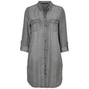 Sukienka prosta, gładka, półdługa, z długim rękawem VERO MODA