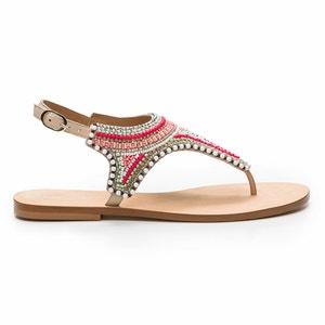 Flache Leder-Sandalen, Perlen