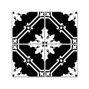 Stickers pour Carrelage de Cuisine ou Salle de Bain Noir et Blanc WADIGA