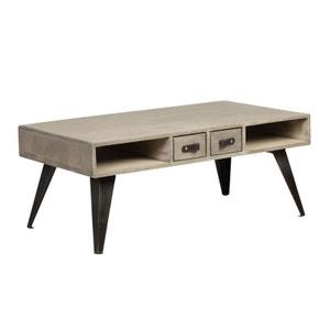 Table basse en manguier massif 2 tiroirs 2 niches pieds métal 99,5x55xH40cm BUFFALO PIER IMPORT