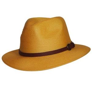 Chapeau borsalino jaune ceinture cuir CHAPEAU-TENDANCE