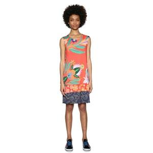 Kurzes Kleid mit Blumenmuster, ärmellos, gerade Form DESIGUAL