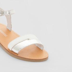 Sandálias em pele metalizada R essentiel