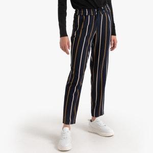 Rechte, gestreepte broek met striklint