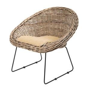 Fauteuil SEGUR en kubu tressé et pieds métalliques - Rotin Design ROTIN DESIGN