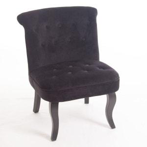 Fauteuil crapaud Calixte H. 73 cm - Velour - Noir ATMOSPHERA