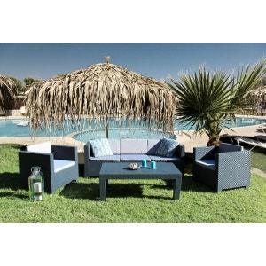 Tropea: Salon de jardin 5 places effet résine tressée anthracite CONCEPT USINE