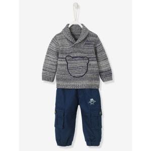 Ensemble bébé garçon pull tricot + pantalon doublé VERTBAUDET
