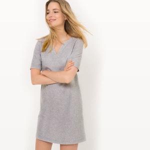 Gestreepte jurk met korte mouwen, linnen R essentiel