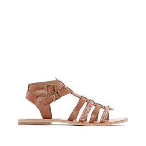Sandales plates cuir détail perles R studio