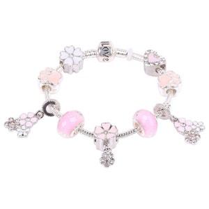 Bracelet Charms - Pampilles Fleurs & Perles Patte de Chien Coeur Boules - Email Verre & Cristal Rose Argenté SO CHIC BIJOUX