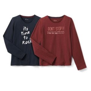 Lot de tee shirts col rond imprimé La Redoute Collections