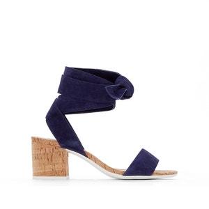 Sandálias em pele aveludada, com tacão, para atar Jonee DUNE LONDON
