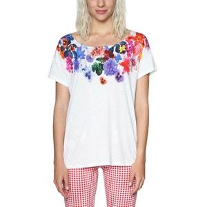 Tee shirt col rond imprimé floral, manches courtes DESIGUAL