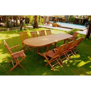 Kajang: Salon de jardin Teck massif 12/14 pers - Table ovale + 8 chaises + 2 fauteuils CONCEPT USINE
