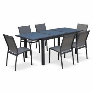 Salon de jardin table extensible - Orlando Gris foncé - Table en aluminium 150/210cm et 6 chaises en textilène ALICE S GARDEN