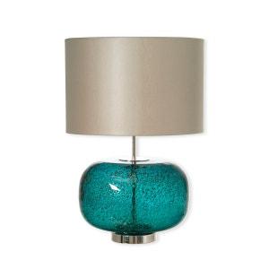 Lampe en verre bleu avec abat-jour 55cm - DERBY BRUNO EVRARD